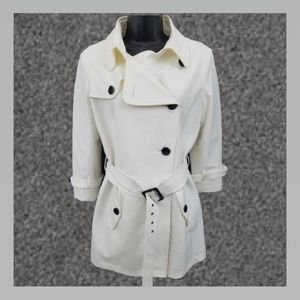 Julio Coat trench size 6 Ivory White navy blue